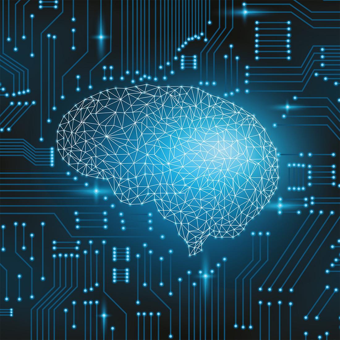 blaue technische Darstellung eines Gehirns, verdeutlichung des konzepts KI und ML