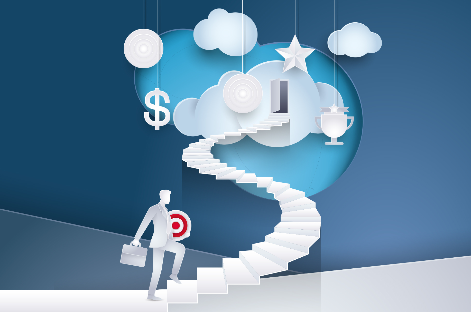 Grafik, Business Mann steigt Treppe in die Cloud hinauf, Illustration der Cloud-First-Strategie