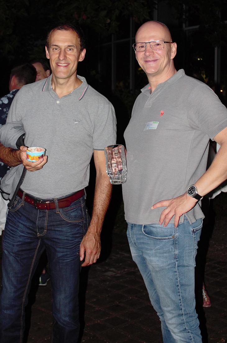 Evangelos Konstantinou und Wolfram Girg auf dem Controlware Sommerfest