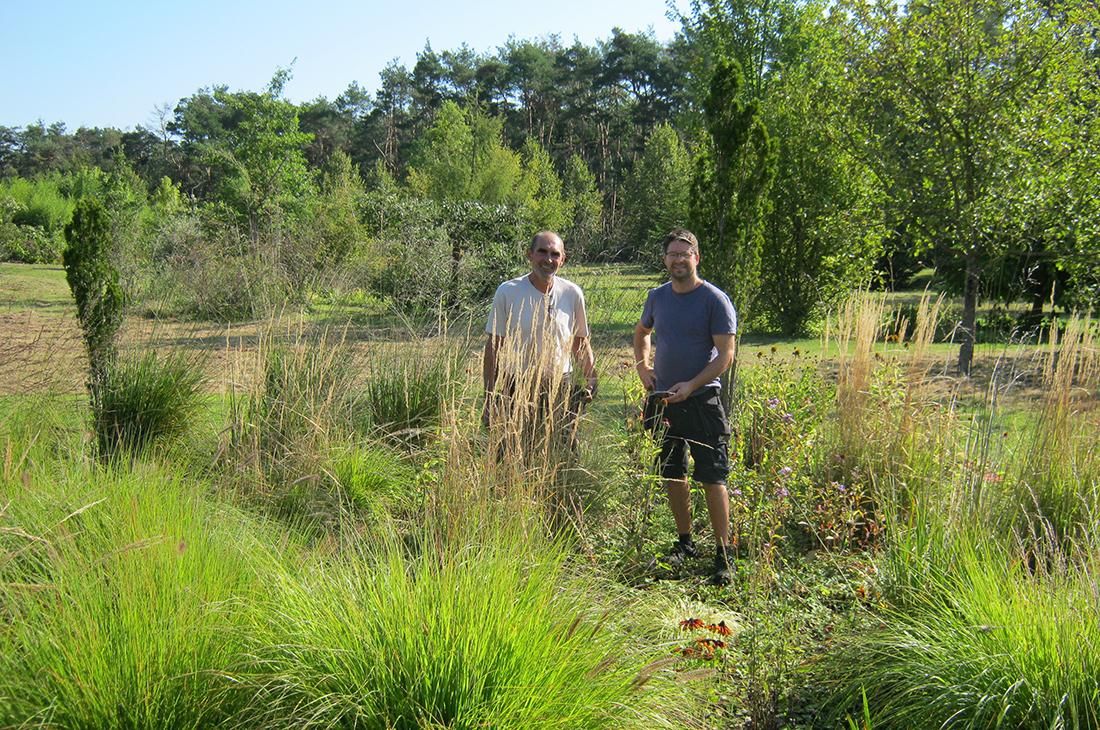 Endre Feher (links) und Michael Gallasch (rechts) in den dichten Wildwiesen des Controlware Parks